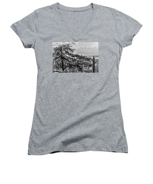 Women's V-Neck T-Shirt (Junior Cut) featuring the photograph Ancient Walls Of Florence-bandw by Sonny Marcyan