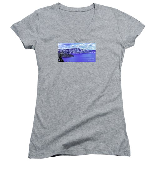 Women's V-Neck T-Shirt (Junior Cut) featuring the photograph Ancient Waters by Nancy Marie Ricketts