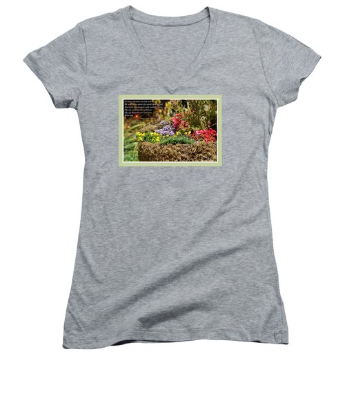 And So In This Moment With Sunlight Above II Women's V-Neck T-Shirt (Junior Cut) by Jim Fitzpatrick