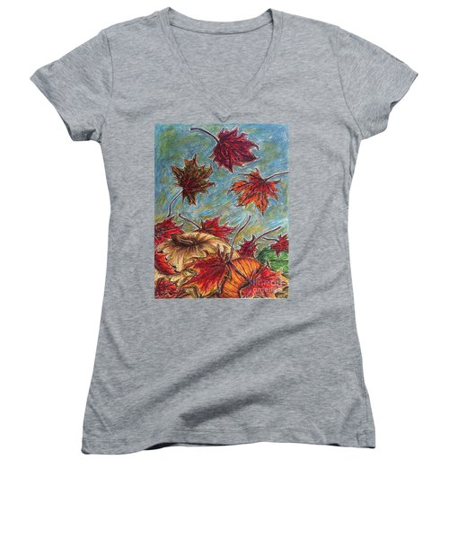 And The Leaves Came Tumbling Down Women's V-Neck