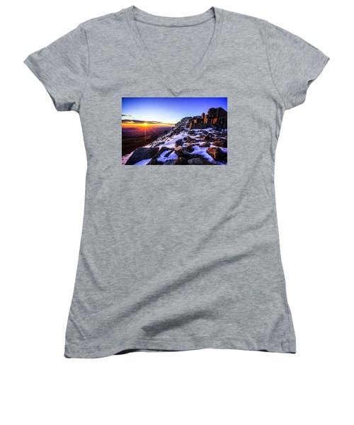 Women's V-Neck T-Shirt (Junior Cut) featuring the photograph And Then There Was Light by Kristal Kraft