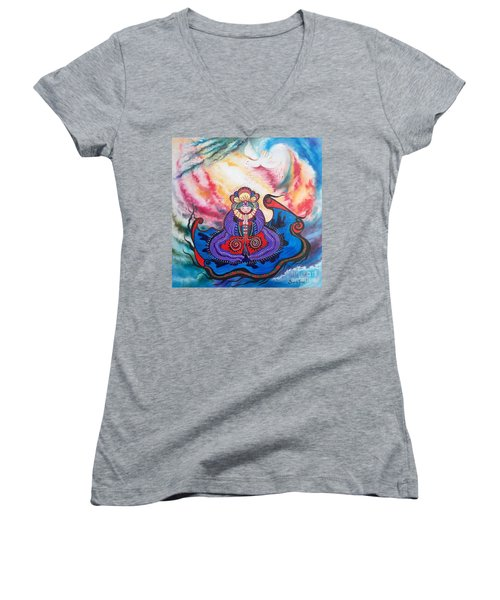 Women's V-Neck T-Shirt (Junior Cut) featuring the painting And We Pray by Sigrid Tune