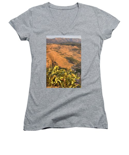 Women's V-Neck T-Shirt (Junior Cut) featuring the photograph Andalucian Golden Valley by Ian Middleton