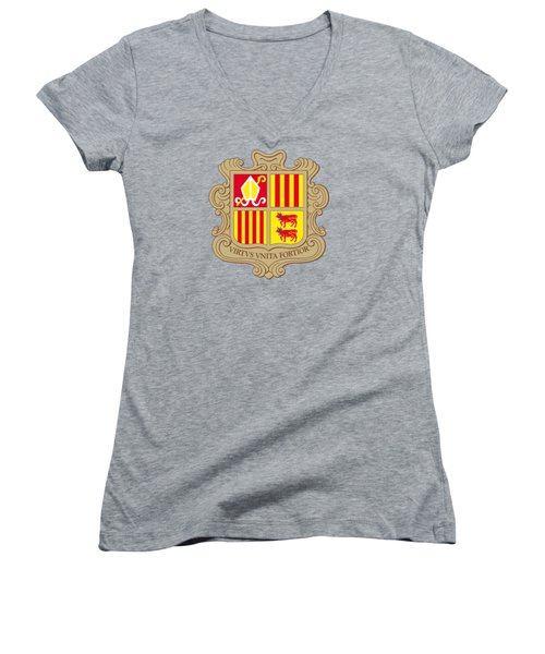 Women's V-Neck T-Shirt (Junior Cut) featuring the drawing Andorra Coat Of Arms by Movie Poster Prints