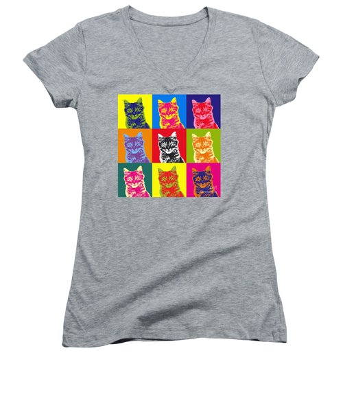 Andy Warhol Cat Women's V-Neck T-Shirt