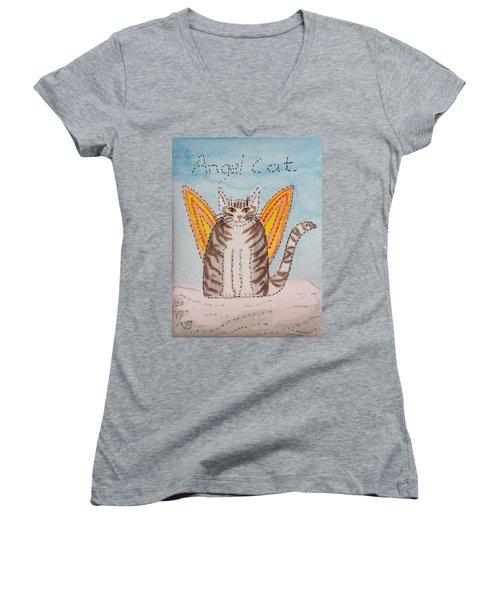 Angel Cat Women's V-Neck