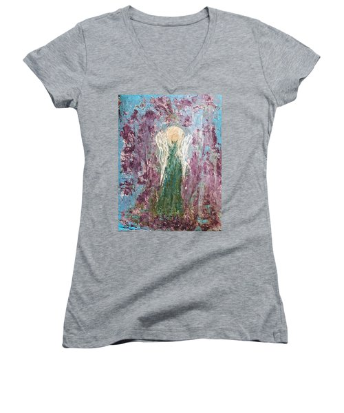 Angel Draped In Hydrangeas Women's V-Neck