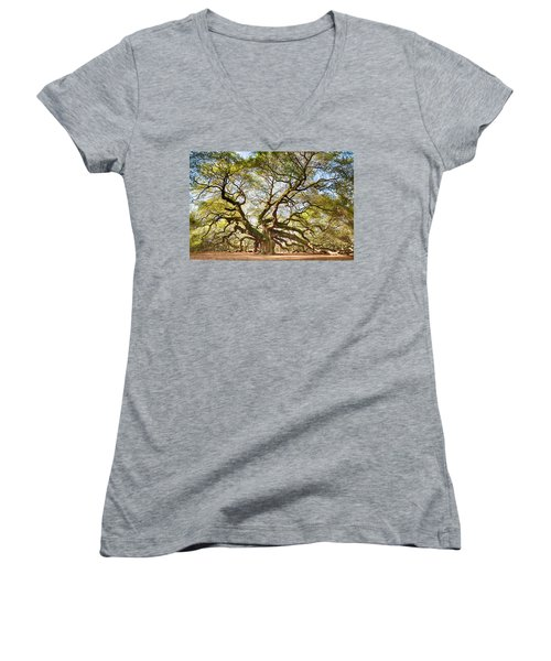 Women's V-Neck T-Shirt (Junior Cut) featuring the photograph Angel Oak In Spring by Patricia Schaefer