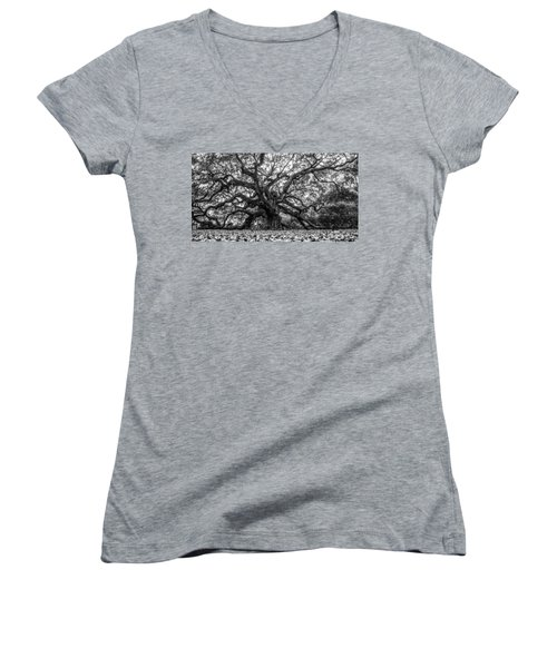 Angel Oak Tree Black And White  Women's V-Neck