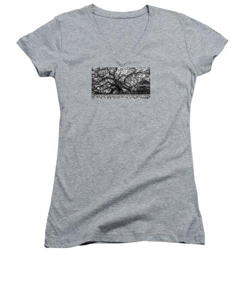 Angel Oak Tree Black And White  Women's V-Neck