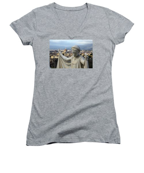Women's V-Neck T-Shirt (Junior Cut) featuring the photograph Angel Of Firenze by Sonny Marcyan