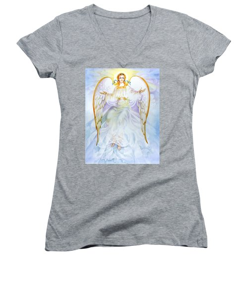 Women's V-Neck T-Shirt (Junior Cut) featuring the painting Angel Of Grace by Karen Showell