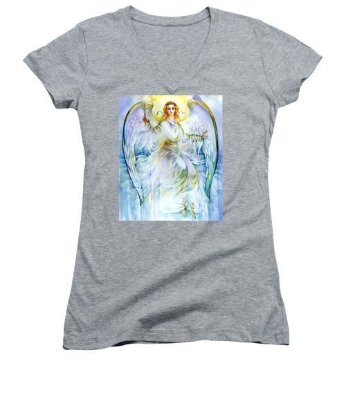 Women's V-Neck T-Shirt (Junior Cut) featuring the painting Angel Of Love by Karen Showell