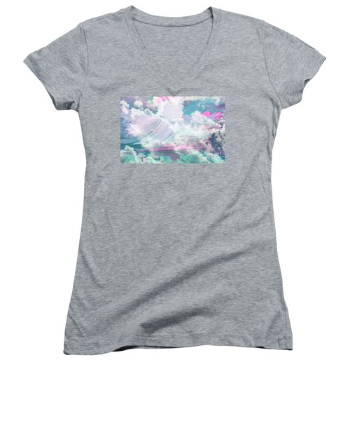 Angel Art Angel Of Peace And Healing Women's V-Neck T-Shirt (Junior Cut) by Sherri's Of Palm Springs