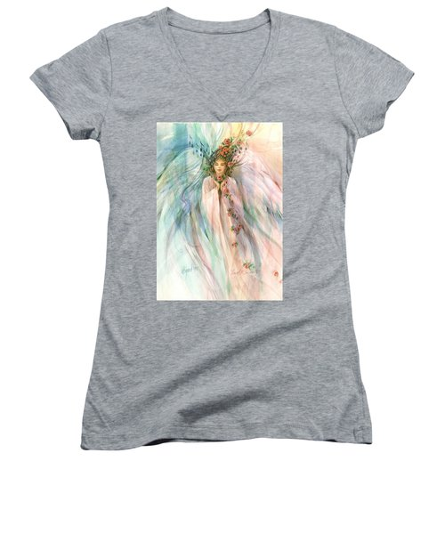 Women's V-Neck featuring the painting Angel Of Serenity by Carolyn Utigard Thomas
