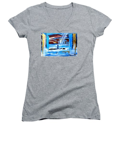 Angel Over Water Women's V-Neck T-Shirt