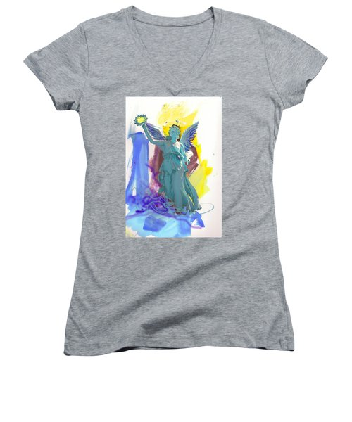 Angel, Victory Is Now Women's V-Neck T-Shirt (Junior Cut) by Amara Dacer