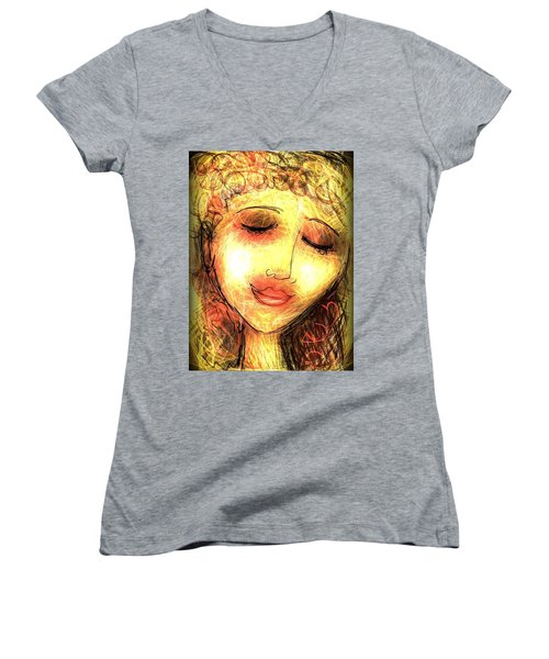 Angela Women's V-Neck T-Shirt (Junior Cut) by Elaine Lanoue