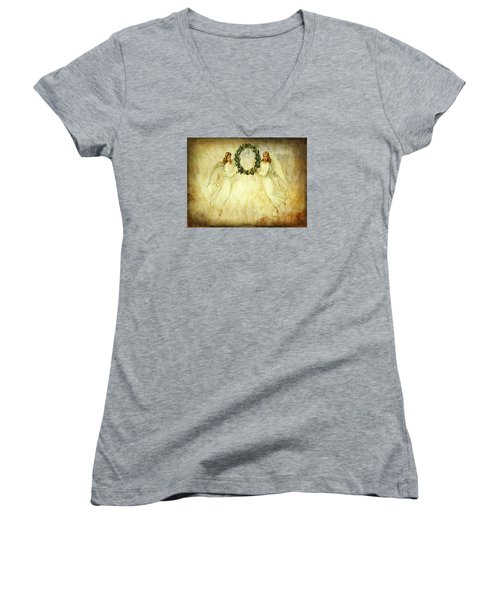 Angels Christmas Card Or Print Women's V-Neck T-Shirt (Junior Cut) by Bellesouth Studio