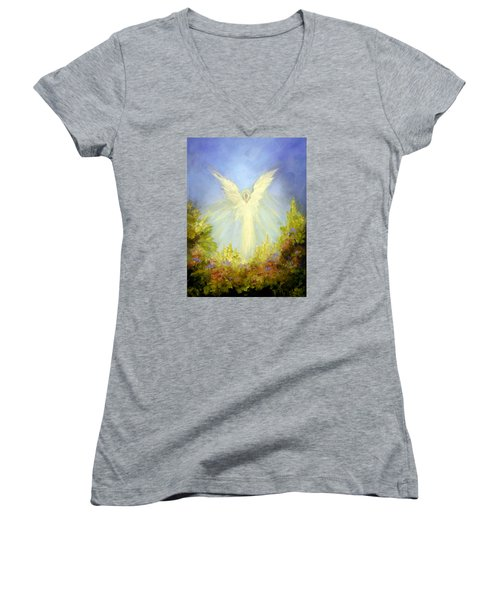 Angel's Garden Women's V-Neck T-Shirt (Junior Cut) by Marina Petro