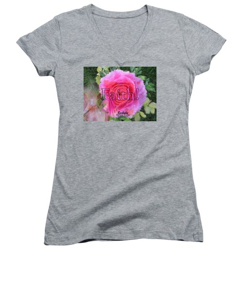 Women's V-Neck T-Shirt (Junior Cut) featuring the photograph Angels Pink Rose Of Faith by Barbara Tristan