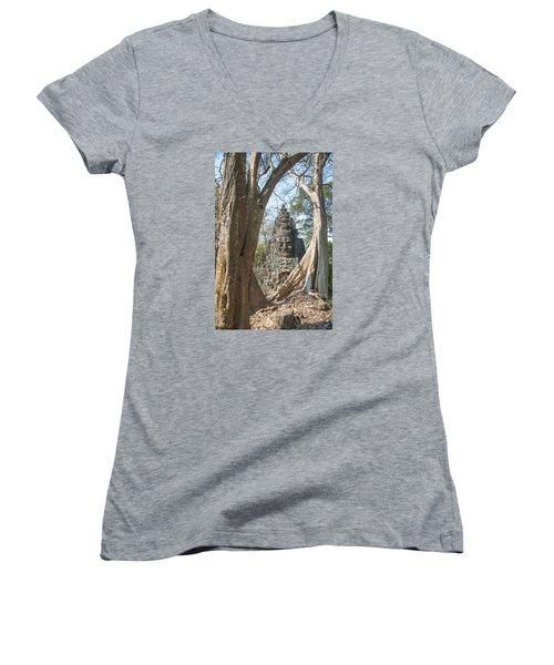 Angkor Thom South Gate Women's V-Neck T-Shirt (Junior Cut) by Rob Hemphill