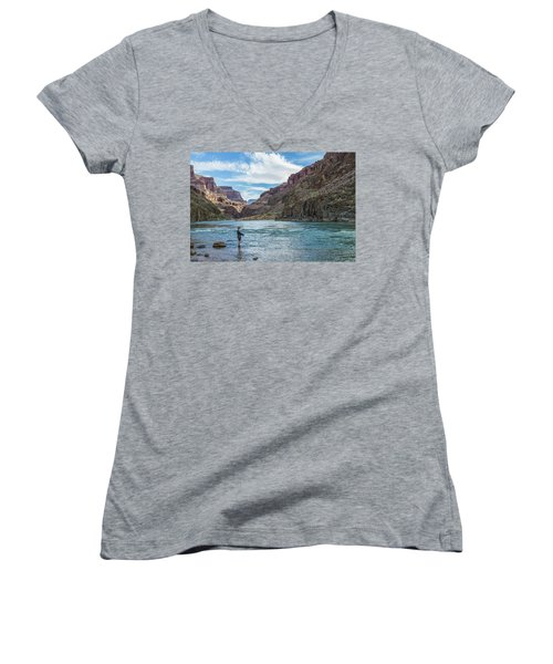 Angling On The Colorado Women's V-Neck T-Shirt (Junior Cut) by Alan Toepfer