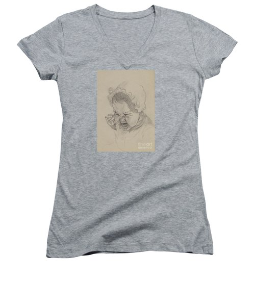 Women's V-Neck T-Shirt (Junior Cut) featuring the drawing Angry by Annemeet Hasidi- van der Leij