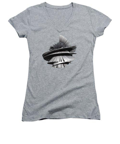 Angst I Oil Painting As A Spherical Depth Map. 3 Women's V-Neck T-Shirt (Junior Cut) by Paul Davenport