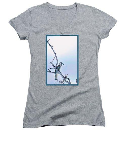 Anhinga In Blue Women's V-Neck T-Shirt (Junior Cut) by Pamela Blizzard