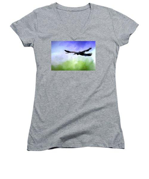 Anhinga In Flight Women's V-Neck T-Shirt (Junior Cut) by Cyndy Doty