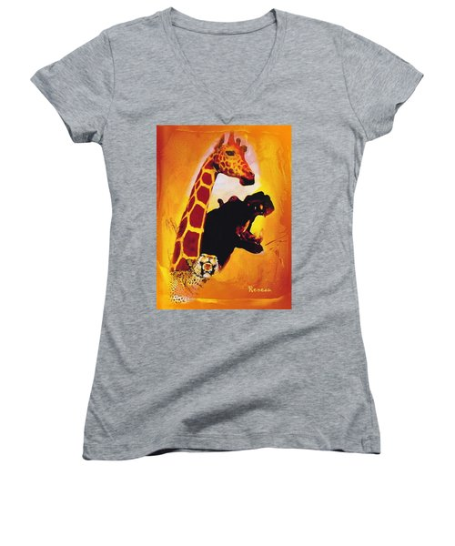 Animal Farm Women's V-Neck T-Shirt (Junior Cut) by Sadie Reneau