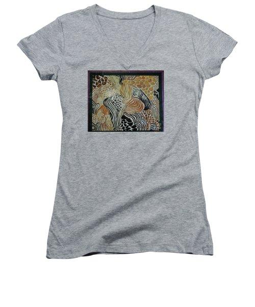 Animal Print Floor Cloth Women's V-Neck T-Shirt (Junior Cut) by Judith Espinoza