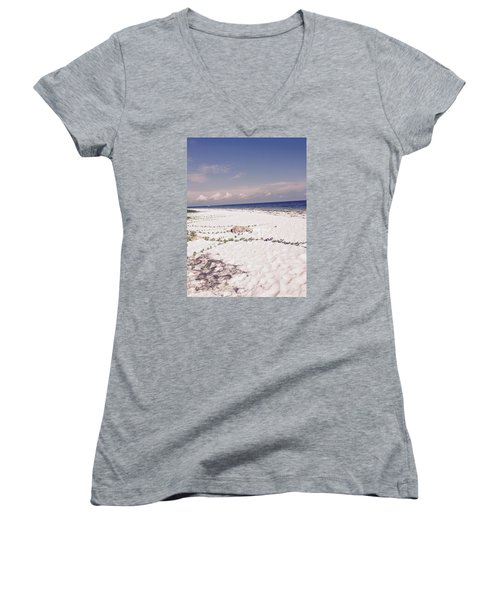 Women's V-Neck T-Shirt (Junior Cut) featuring the photograph Anna Maria Island Beyond The White Sand by Jean Marie Maggi