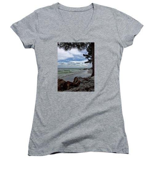 Anna Maria Island  Women's V-Neck T-Shirt (Junior Cut) by Jean Marie Maggi