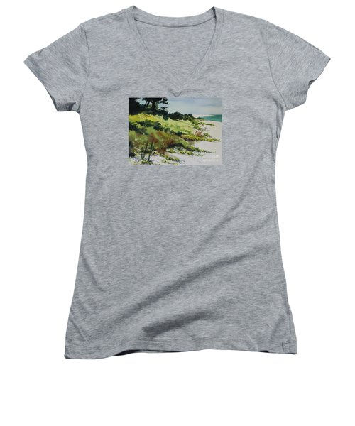Women's V-Neck T-Shirt (Junior Cut) featuring the painting Anna Marie Island by Elizabeth Carr