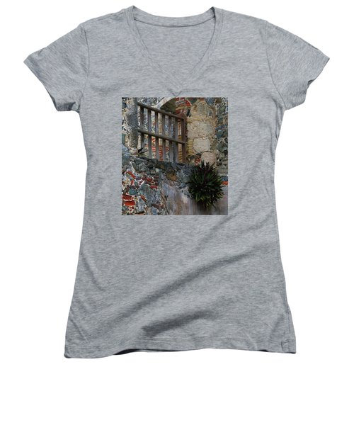 Annaberg Ruin Brickwork At U.s. Virgin Islands National Park Women's V-Neck (Athletic Fit)