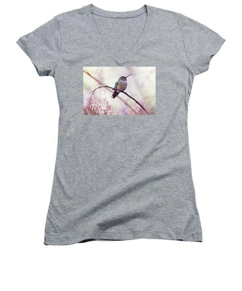 Annas Hummingbird Women's V-Neck T-Shirt (Junior Cut) by Peggy Collins