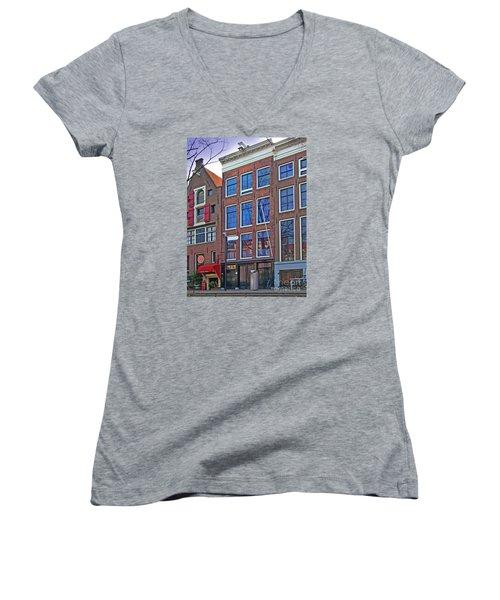 Anne Frank Home In Amsterdam Women's V-Neck T-Shirt (Junior Cut) by Al Bourassa