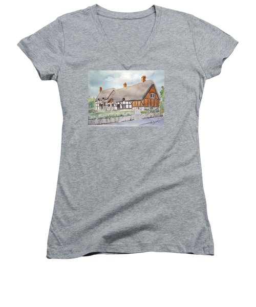 Women's V-Neck T-Shirt (Junior Cut) featuring the painting Anne Hathaway's Cottage by Marilyn Zalatan