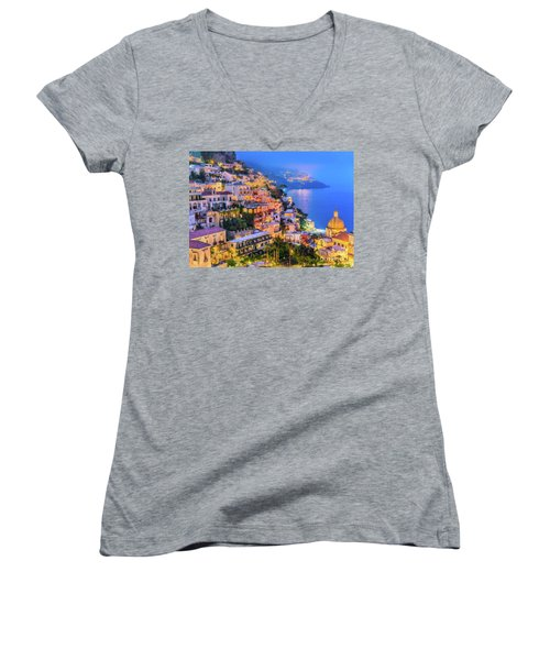 Another Glowing Evening In Positano Women's V-Neck
