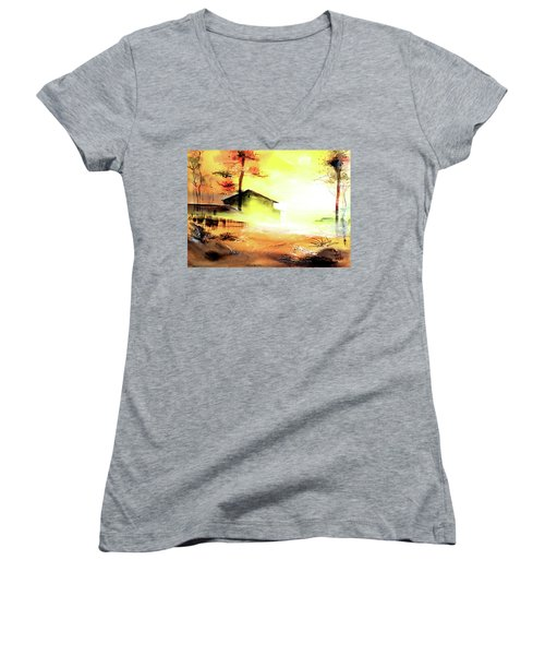 Women's V-Neck T-Shirt (Junior Cut) featuring the painting Another Good Morning by Anil Nene