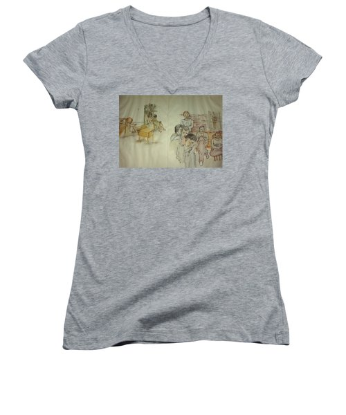 Another Look At Mental Illness Album Women's V-Neck T-Shirt (Junior Cut) by Debbi Saccomanno Chan