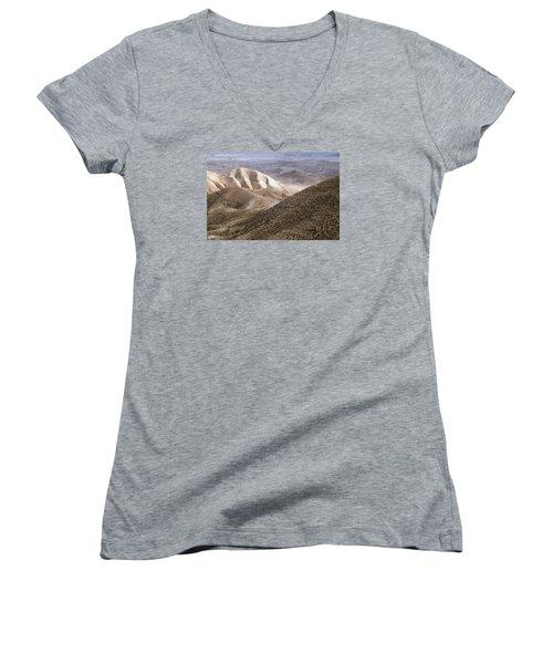 Another View From Masada Women's V-Neck T-Shirt (Junior Cut) by Dubi Roman