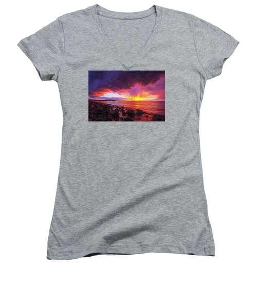 Antelope Island Sunset Women's V-Neck (Athletic Fit)
