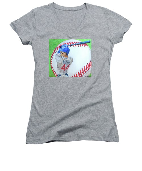 Anthony Rizzo 2016 Women's V-Neck T-Shirt (Junior Cut) by Melissa Goodrich