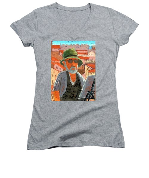 Women's V-Neck T-Shirt (Junior Cut) featuring the painting Antibes Self by Gary Coleman