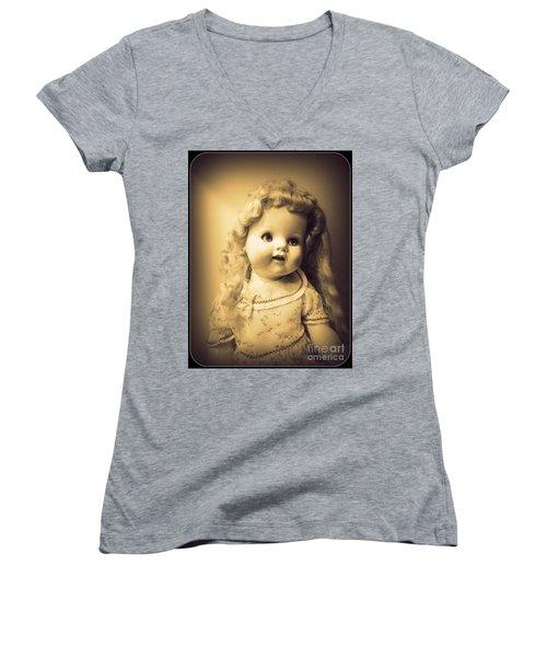 Antique Dolly Women's V-Neck T-Shirt (Junior Cut) by Susan Lafleur
