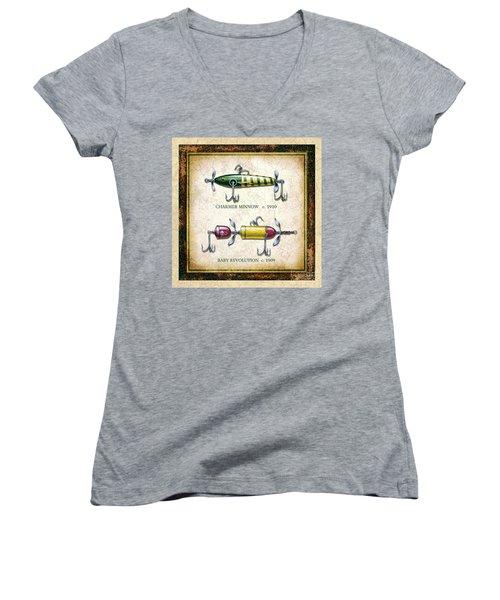 Antique Lure Panel One Women's V-Neck T-Shirt (Junior Cut) by JQ Licensing Jon Q Wright