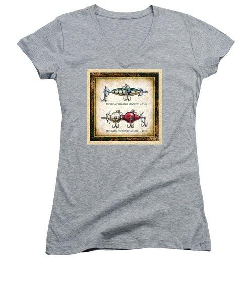 Antique Lure Panel Two Women's V-Neck T-Shirt (Junior Cut) by JQ Licensing Jon Q Wright